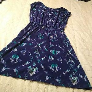 Mossimo Dark Purple Print Midi Dress. Size Large